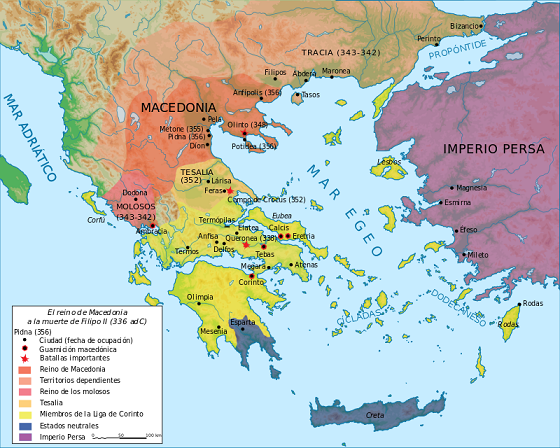 El reino de Macedonia a la muerte de Filipo II