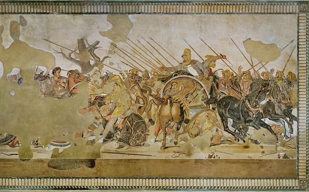 Estado actual de un mosaico pompeyano que representaba la batalla de Issos