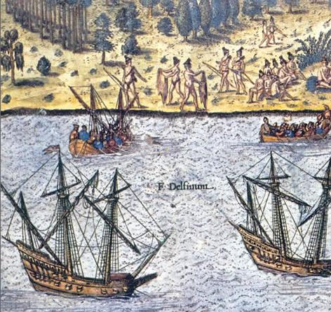Representación de galeones españoles ante las costas de Florida