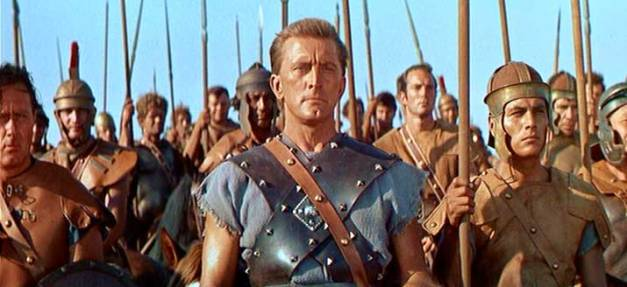 Kirk Douglas interpretando a Espartaco