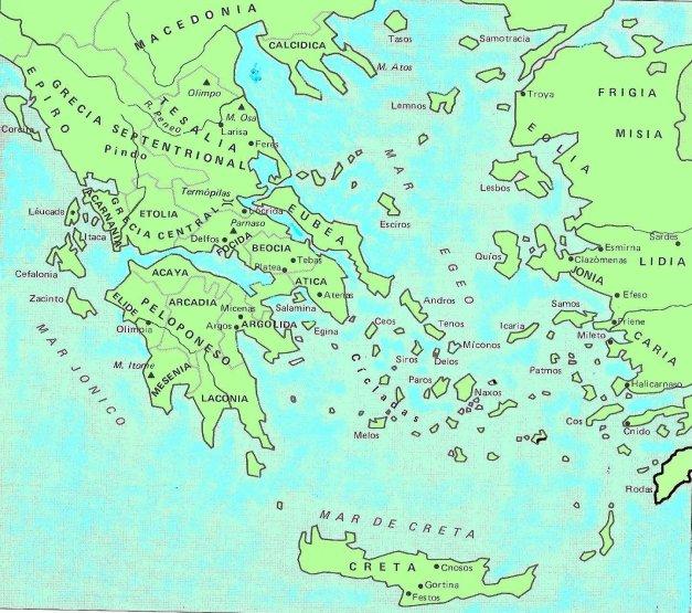 Mapa de la antigua Grecia y sus alrededores