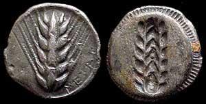 Moneda representando una espiga de cebada