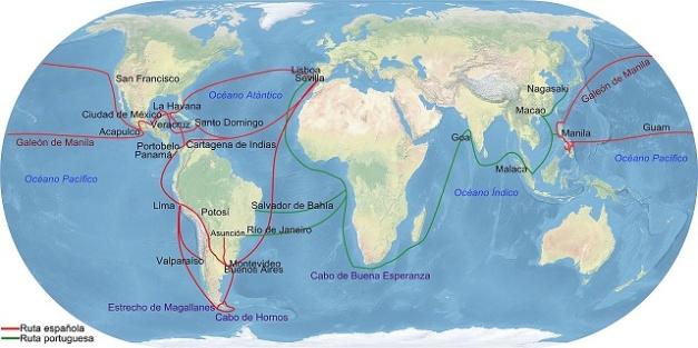 Principales rutas comerciales españolas con las Indias