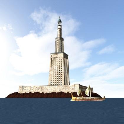 Reconstrucción de cómo pudo ser el Faro de Alejandría