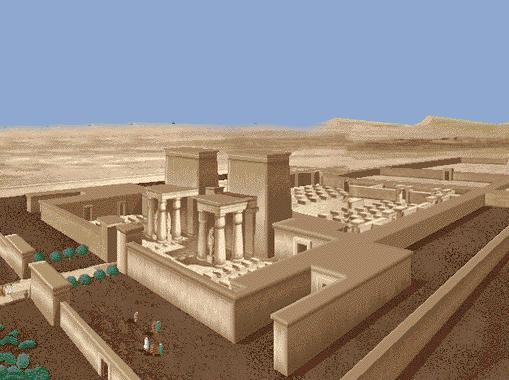 Reconstrucción del aspecto que debía tener uno de los templos de Atón de Amarna