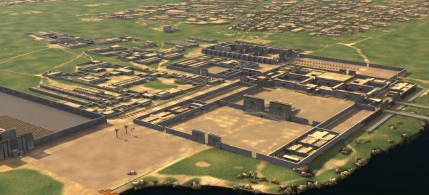 Reconstrucción en 3D del aspecto que debía tener parte de la ciudad de Amarna