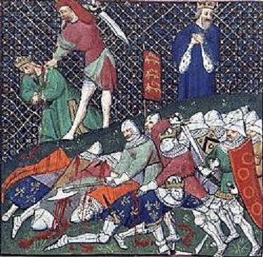 Captura de Juan II el Bueno en la batalla de Poitiers en De Causibus Ilustrorum virorum de Bocaccio, edición de París de 1467