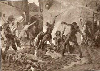 Cuadro de Josep Segrelles sobre el pogromo de 1391 en Barcelona