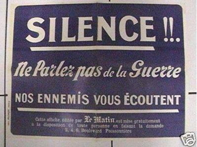 Ejemplo de cartel francés de 1915 advirtiendo sobre la presencia de espías