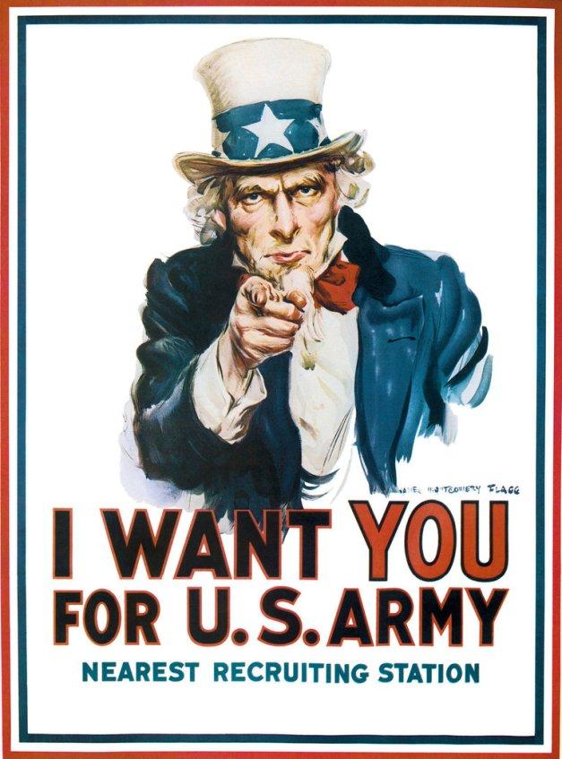 Famoso cartel estadounidense del Tío Sam llamando a reclutamiento