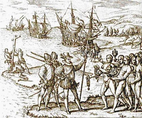 Imagen que representaría la llegada de Hernán Cortés a la costa de México en 1519