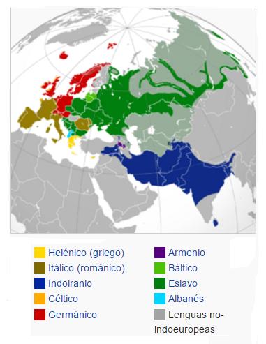 Mapa de distribución de las principales lenguas indoeuropeas en Grecia