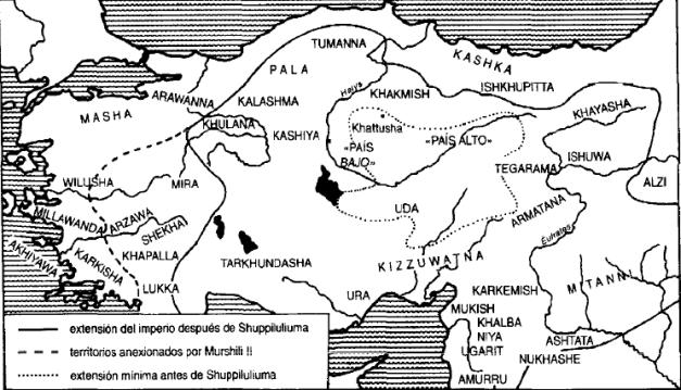 Mapa del imperio hitita entre el reinado de Shuppiluliuma y Murshili II