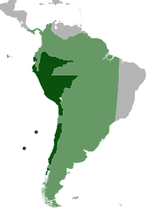 Mapa que muestra en color verde oscuro la expansión inicial y en verde flojo la final del Virreinato de Perú