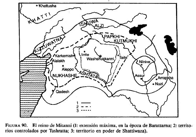 Mapa que muestra las distintas extensiones del reino de Mitanni a lo largo de su Historia