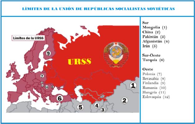 Mapa que muestra las distintas fronteras con las que colindaba la URSS