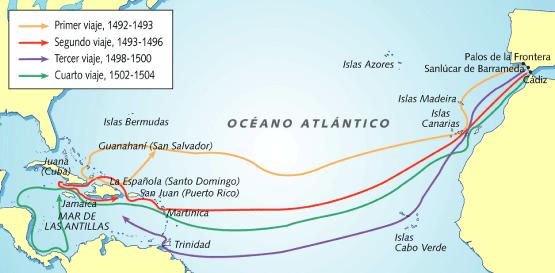 Mapa de los cuatro viajes de Cristóbal Colón a América