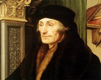 Uno de los retratos más famosos en el que se representa a Erasmo de Rotterdam