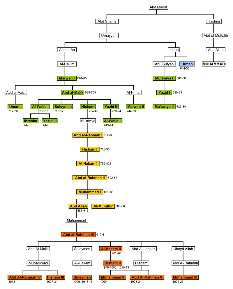 Árbol genealógico de la dinastía de los Omeya