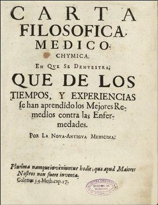 Carta filosófico-médico- química de Juan de Cabriada