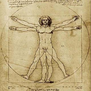 El hombre de Vitrubio, de Leonardo da Vinci
