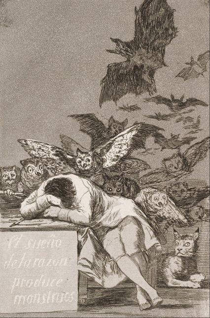 """""""El sueño de la razón produce monstruos"""", grabado de Francisco de Goya"""