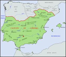 Extensión del califato de Córdoba hacia el año 1000