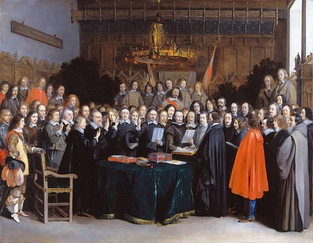 Firma del traado de la paz de Münster, una de las principales consecuencias de la Guerra de los Treinta Años