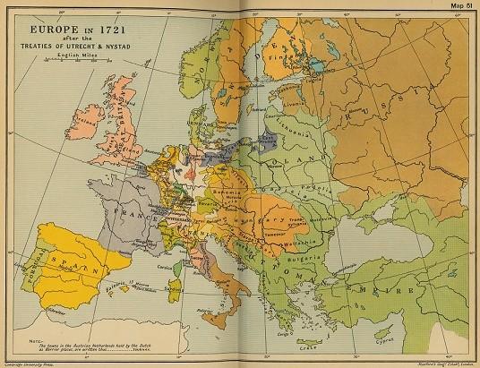 Mapa de Europa en 1721