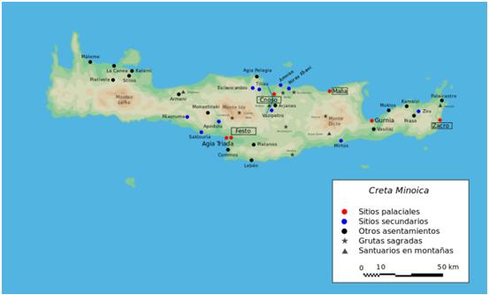Mapa de la isla de Creta durante la civilización minoica