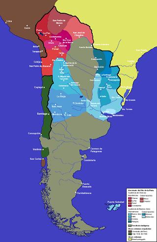 Mapa del virreinato de la Plata con sus intendencias