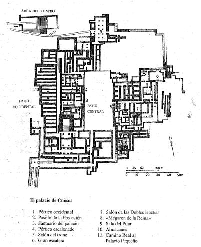 Plano del palacio de Cnosos, epicentro de la civilización minoica