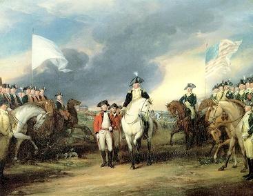 Tropas francesas (izquierda) observan a los británicos rendirse ante los estadounidenses (derecha), en la Batalla de Yorktown en 1781