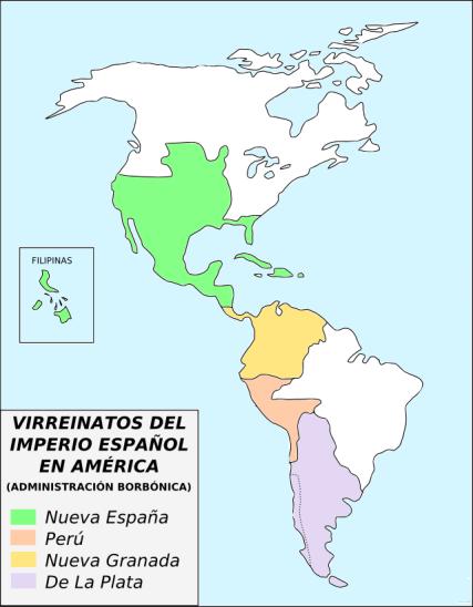 Mapa de los virreinatos españoles en América a partir de 1776, después del reformismo borbónico