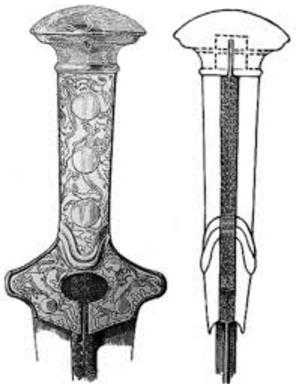 Dibujo basado en una empuñadura real de una espada minoica tipo D