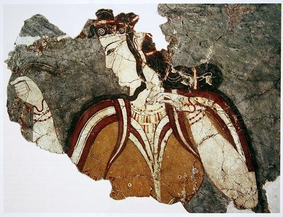 Estado actual de un fresco micénico en el que se representa una diosa