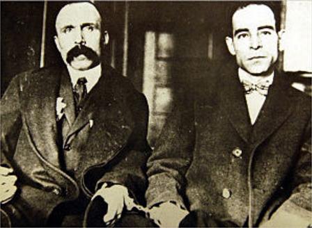 Fotografía de Vanzetti (izquierda) y Sacco (derecha)