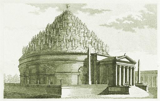 Reconstrucción decimonónica del aspecto que podría haber tenido el mausoleo de Augusto