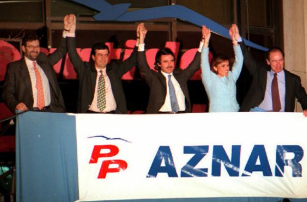 José María Aznar la noche de su victoria en las elecciones generales de 1996