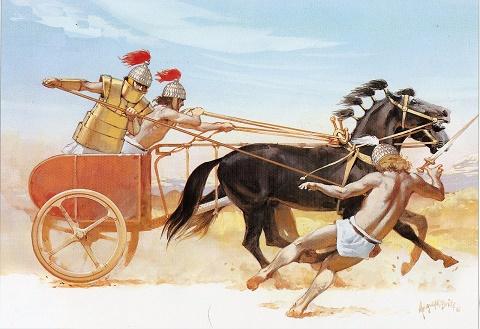 Recreación de un carro de combate micénico y sus ocupantes
