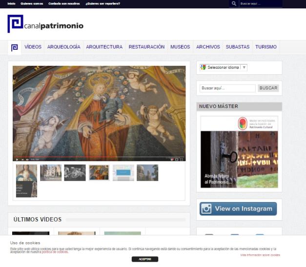Captura de pantalla de la web Canal de Patrimonio