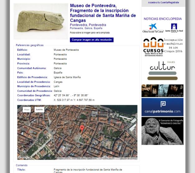 Captura de pantalla de una parte de una ficha catalográfica de la base de datos de la web