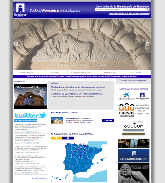 Captura de pantalla general de esta gran web de patrimonio románico español