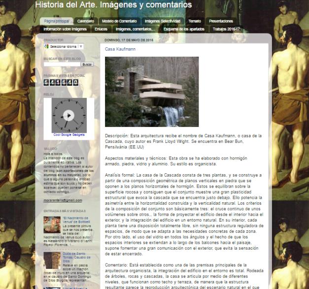 Captura de pantalla general de este gran blog de Historia del Arte para estudiantes