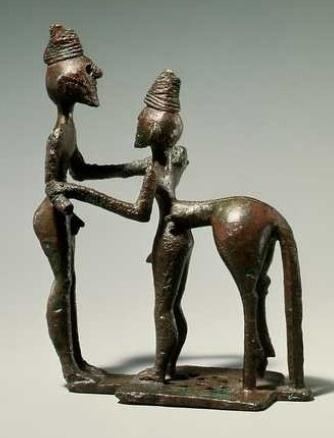 Estatuilla griega de bronce de mediados del siglo VIII a.C.