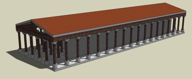 Posible reconstrucción del templo de Hera en la isla de Samos