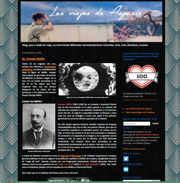 Captura de pantalla general del blog Los viajes de Aspasia