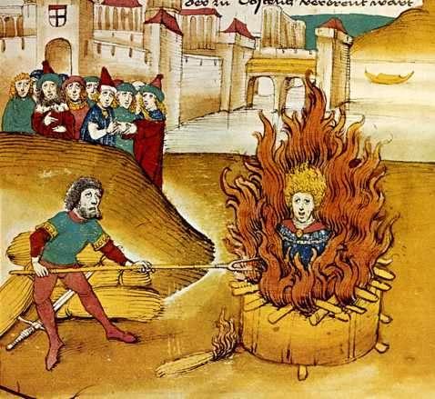 Ilustración medieval de quema en la hoguera de un cátaro
