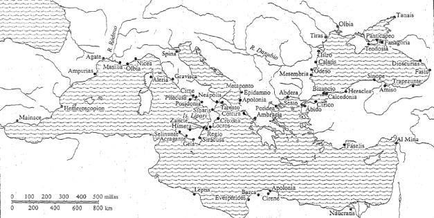 Mapa de la colonización griega entre el 750 y el 500 a.C. (fuente: Pomeroy)