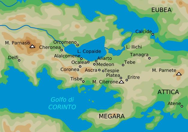 Mapa en italiano con las localidades de la antigua región griega de Beocia